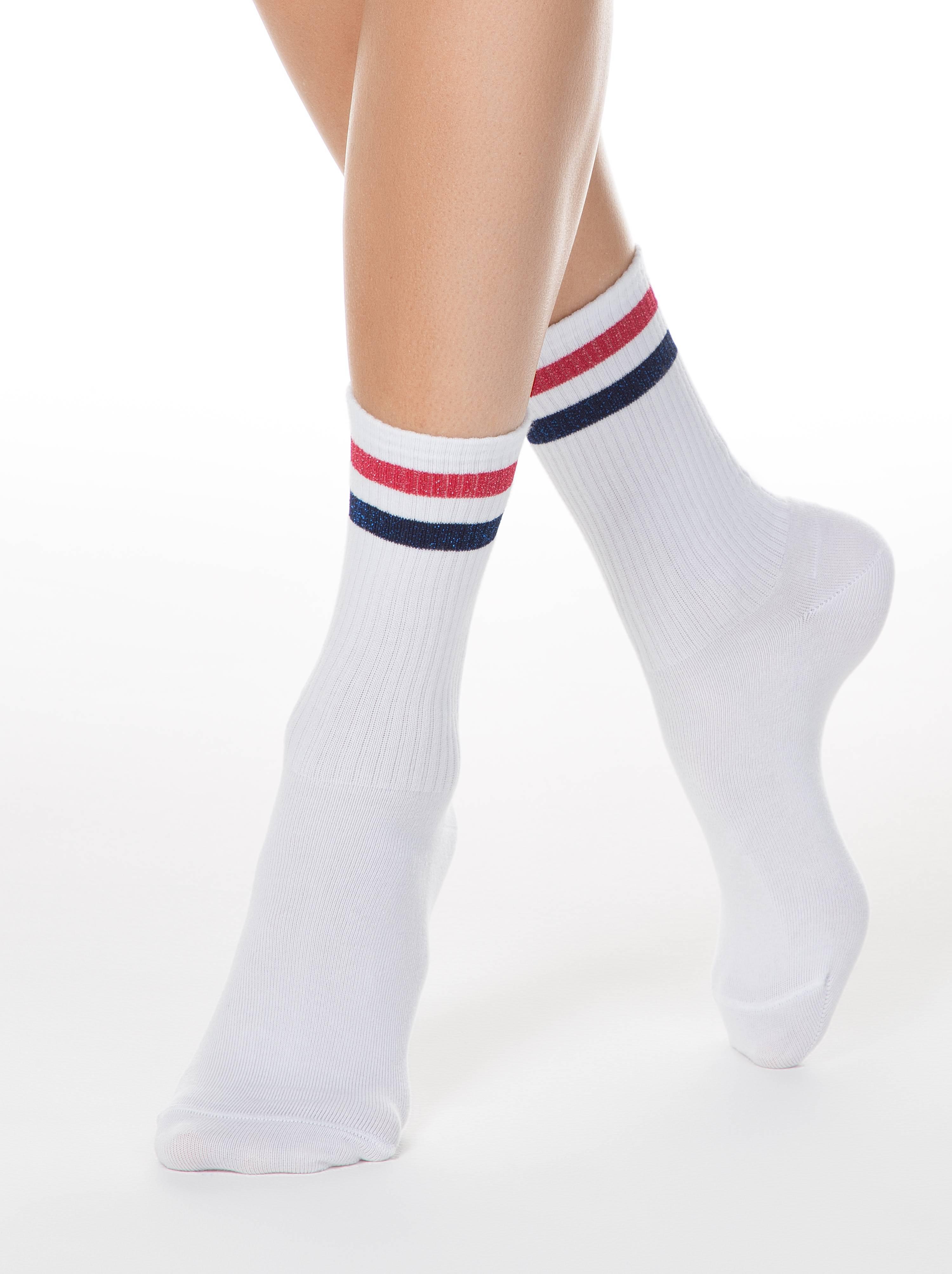 Удлиненные хлопковые носки ACTIVE с яркими полосками из люрекса фото
