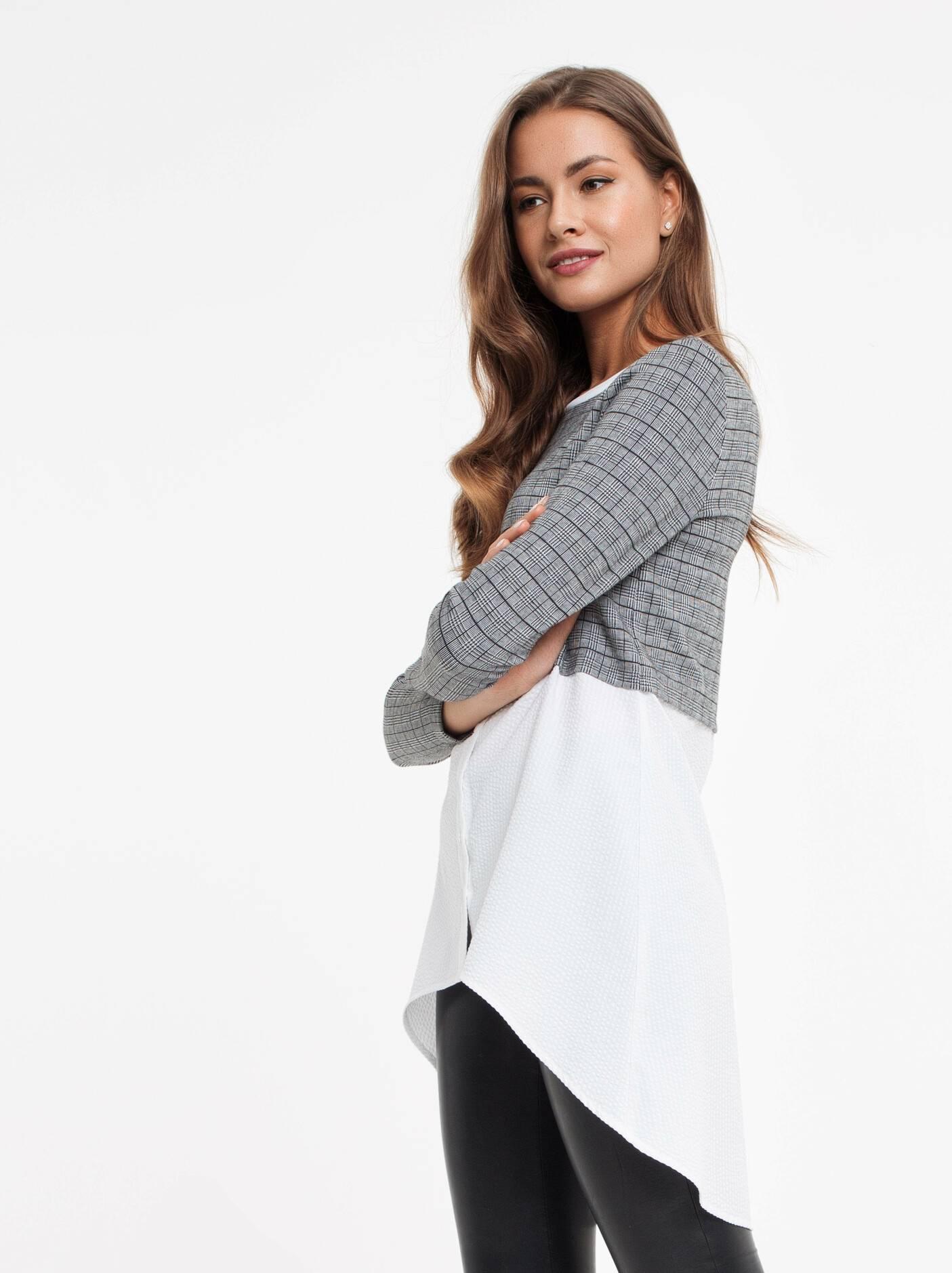 796e7b423f3 Купить стильная туника с имитацией рубашки 830 цвет grey в интернет ...