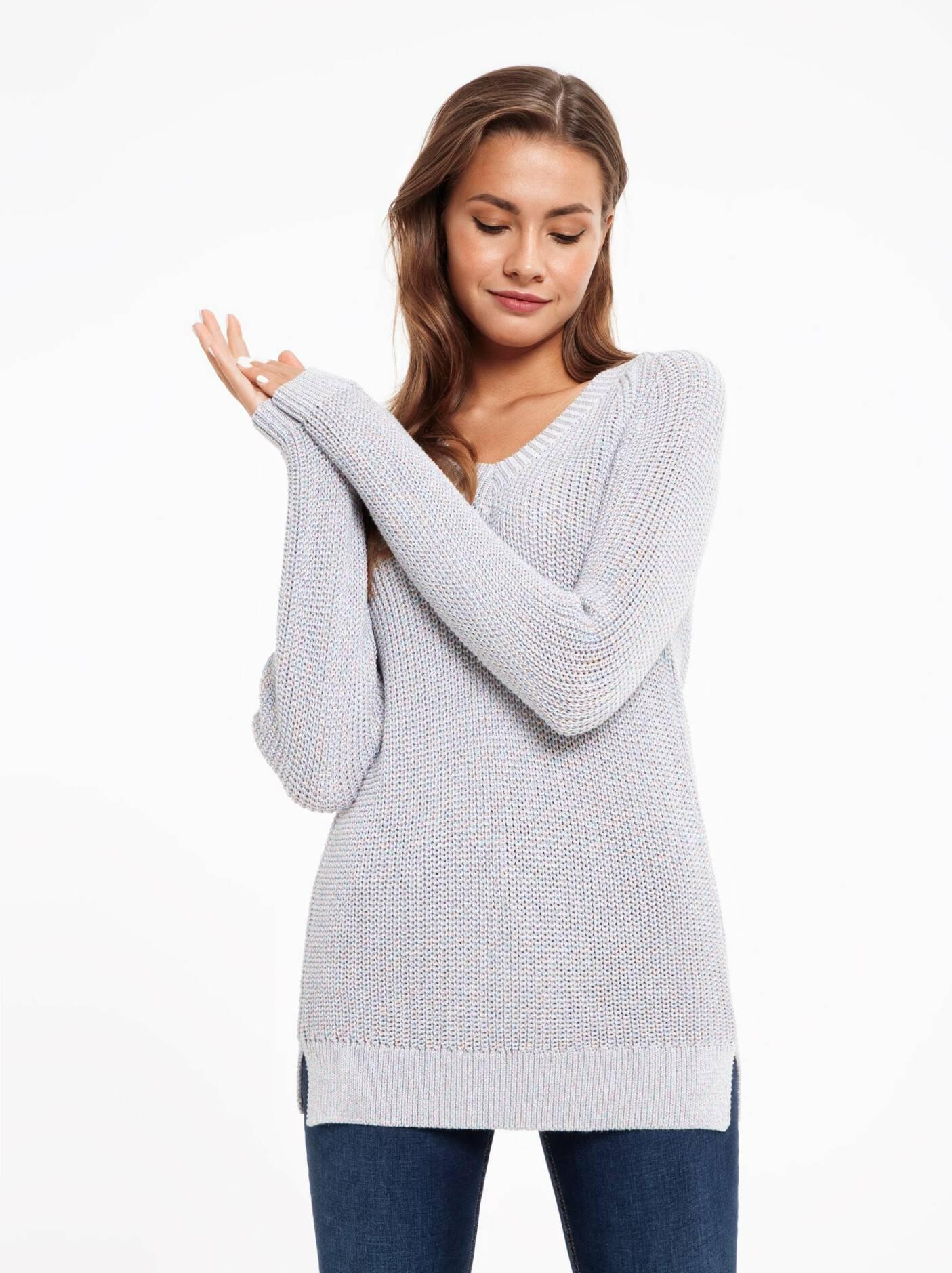 6ce433d9052b Джемпер женский Экстрамягкий удлиненный пуловер с объемной вязкой и  мерцающим ...