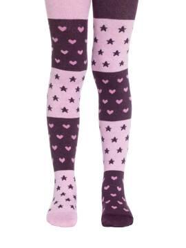 Колготки хлопковые детские TIP-TOP (веселые ножки) 14С-79СП, размер 116-122, цвет баклажан-светло-розовый