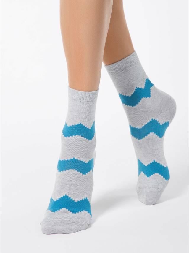 Носки хлопковые женские CLASSIC (люрекс) 15С-21СП, р. 36-37, серый-бирюза, рис. 065 - 1