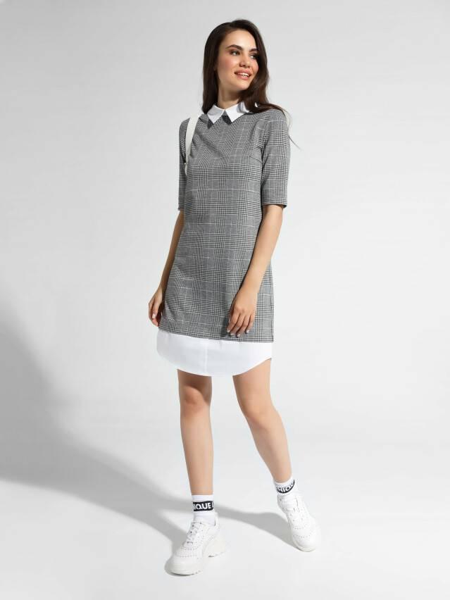 Платье LPL 1052, р.164-84-90, grey-ivory check - 2