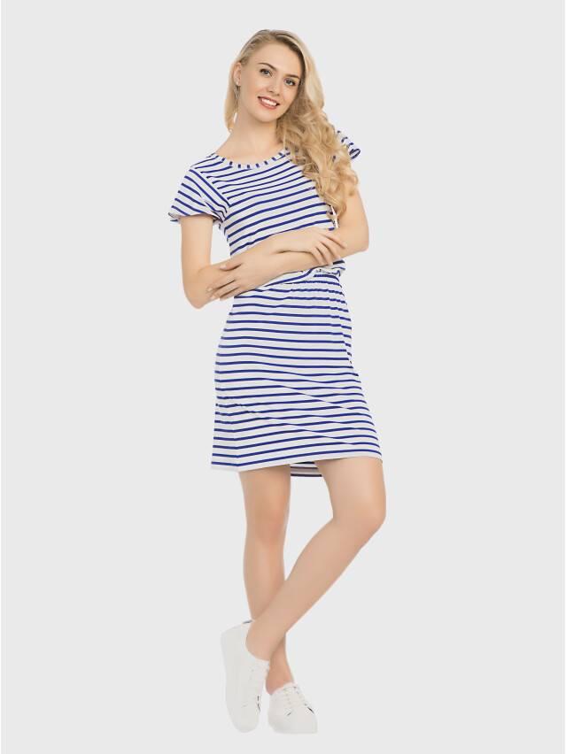 Платье LPL 733, р.158,164-84-90, белый-василек - 2