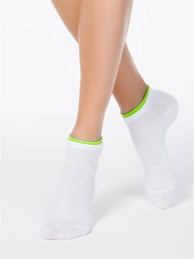 Носки хлопковые женские ACTIVE (декор. резинка) 12С-32СП, р. 36-37, белый-салатовый, рис. 035 - 1