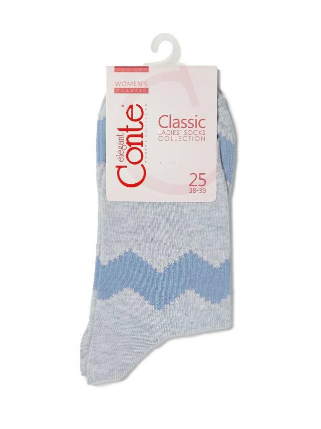 Носки хлопковые женские CLASSIC (люрекс) 15С-21СП, р. 36-37, серый-голубой, рис. 065 - 3
