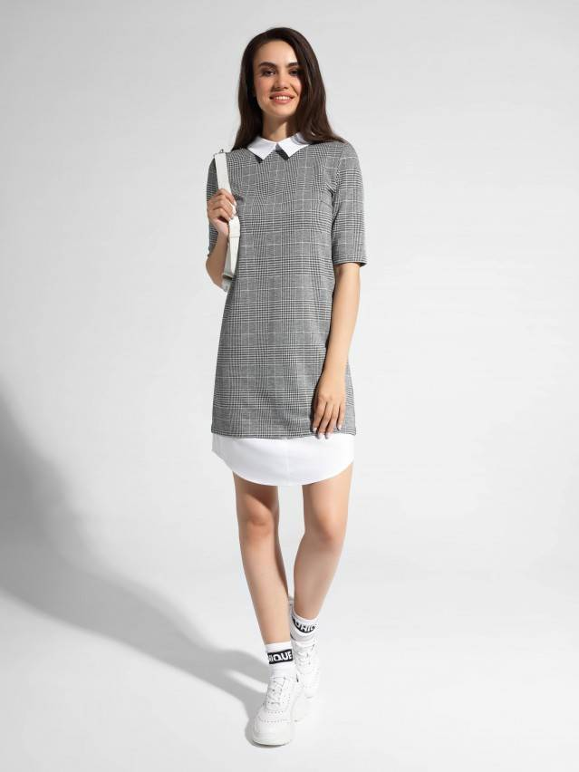 Платье LPL 1052, р.164-84-90, grey-ivory check - 1