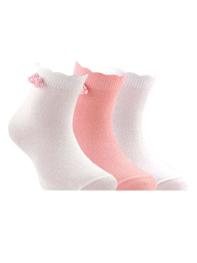 Носки хлопковые детские TIP-TOP (декор, цветочки) 7С-50СП, p. 12, белый-св.-розовый, рис. 000 - 1
