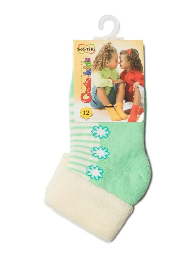 Носки хлопковые детские SOF-TIKI (махровые с отворотом) 6С-19СП, p. 12, кремовый-св.-зеленый, рис. 074 - 2