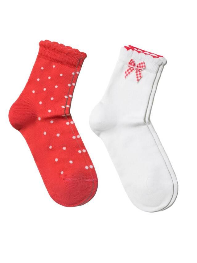 Носки хлопковые детские TIP-TOP (2 пары, пикот) 7С-90СП,7С-100СП, p. 12, белый-красный, рис. 705 - 1