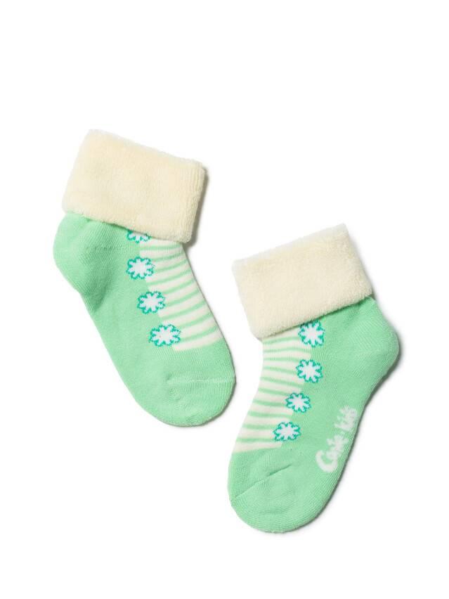 Носки хлопковые детские SOF-TIKI (махровые с отворотом) 6С-19СП, p. 12, кремовый-св.-зеленый, рис. 074 - 1