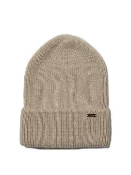 Вязаная шапочка-бини из пряжи с мохером и шерстью 18С-201СП, размер 54-56, цвет бежевый