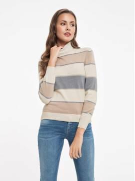 Джемпер женский Экстрамягкий свитер в полоску с металлическим блеском 034 17С-165СП, размер 158,164-88, цвет бежево-серый