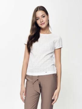 блузка женская фактурная кружевная блузка с приспущенным плечом LBL 916 18С-667ТСП, размер 170-84-90, цвет off-white