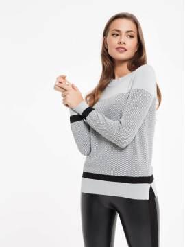 джемпер женский экстрамягкий фактурный джемпер с металлическим блеском 035 17С-169СП, размер 158,164-84, цвет белый