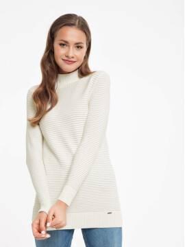 джемпер женский удлиненный свитер из итальянской пряжи с модалом 037 18С-52СП, размер 170-92, цвет экрю