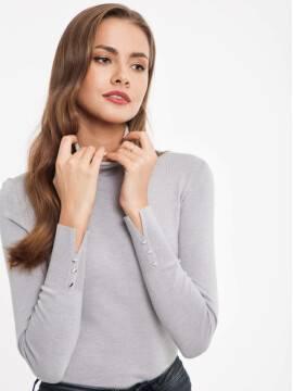 Джемпер женский Свитер из пряжи с вискозой премиального качества 026 17С-86СП, размер 158,164-84, цвет серый