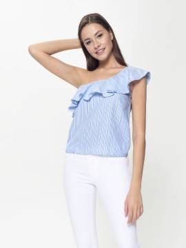 блузка женская ультрамодная блузка на одно плечо LBL 929 18С-680ТСП, размер 170-96-102, цвет blue-white