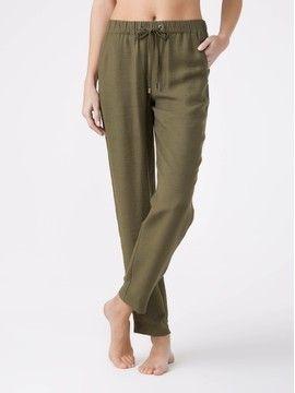 брюки женские фактурные брюки из вискозы премиального качества EXOTICA 18С-698ТСП, размер 164-100-106, цвет khaki
