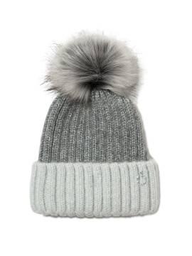 Шапка женская Вязаная шапочка из пряжи с мохером и шерстью 18С-199СП, размер 54-56, цвет серый