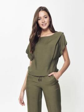 блузка женская стильная блузка с легким мерцанием LBL 912 18С-663ТСП, размер 170-84-90, цвет khaki