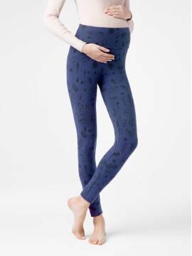 леггинсы женские ультракомфортные леггинсы для беременных с трендовым рисунком MAMA ART 18С-592ТСП, размер 164-102, цвет denim