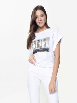 джемпер женский хлопковая футболка с металлическим принтом LD 924 18C-675ТСП, размер 170-84, цвет white