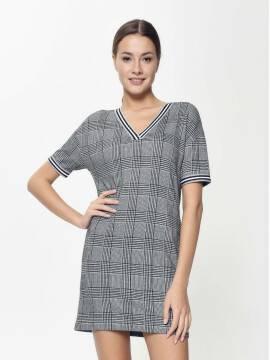 платье женское ультрамодное платье а-силуэта в клетку LPL 893 18С-644ТСП, размер 170-84-90, цвет grey check