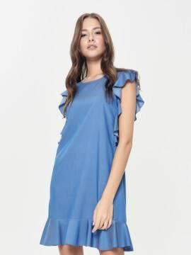 платье женское джинсовое платье а-силуэта с воланами LPL 905 18С-656ТСП, размер 170-100-106, цвет light denim