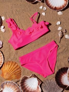 купальник детский купальник на одно плечо SUNSET , размер 110,116-56, цвет neon pink