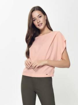блузка женская блузка из легкого вискозного полотна со льном LBL 913 18С-664ТСП, размер 170-84-90, цвет pudra