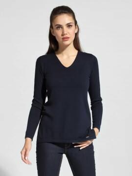 джемпер женский удлиненный вязаный пуловер с разрезами по бокам LDK 056 18С-208СП, размер 170-100, цвет dark navy