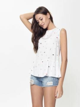 блузка женская ультрамодная блузка без рукавов с ярким принтом LBL 918 18С-669ТСП, размер 170-84-90, цвет white WIFI