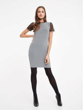 платье женское платье-футляр с металлическим блеском и рукавами из кружева 849 18С-536ТСП, размер 170-88-94, цвет grey