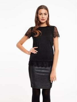 Джемпер женский Стильный джемпер с короткими рукавами и отделкой из кружева 850 18C-537ТСП, размер 170-100, цвет nero
