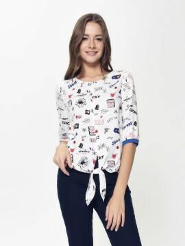 блузка женская стильная блузка с декоративной завязкой LBL 886 18С-637ТСП, размер 170-96-102, цвет white-ultramarine