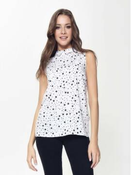 блузка женская легкая блузка со звездным принтом LBL 885 18С-636ТСП, размер 170-100-106, цвет white-black